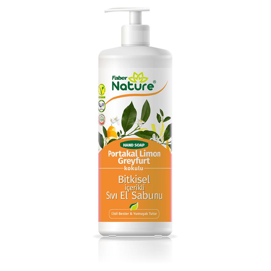 Faber Nature Hand Soap Portakal Limon GreyfurtBitkisel İçerikli Sıvı El Sabunu