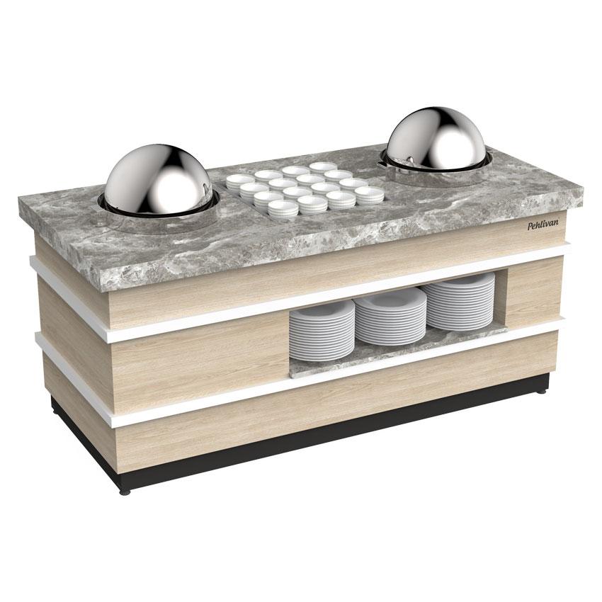 Açık Büfe Çorba Servis Ünitesi 2 Çorbalık 200x90x90 cm