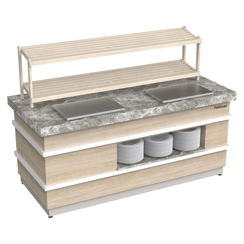 Açık Büfe Ekmek Servis Ünitesi  120x90x90 cm